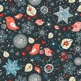 snowflakes för fågelförälskelsemodell stock illustrationer