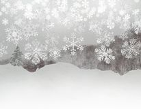 Snowflakes fall, ice texture, silvery trees and snow background stock images