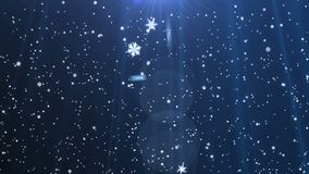 Snowflakes falling on blue background. Snowflakes are falling down on dark blue background.Animation 4K. Christmas time. Dark blue. Animated background stock footage