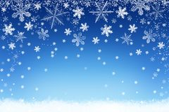 Snowflakes falling on snow. Background for Christmas and Winter royalty free illustration