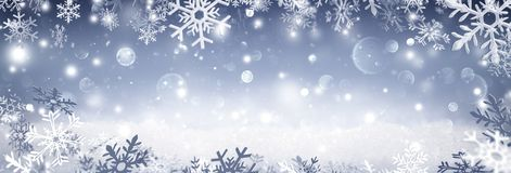 Winter Banner - Snowflakes Falling On Snow Stock Photos