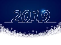 Winter background dark blue, snowflakes fell in a semicircle, inscription 2019 royalty free illustration