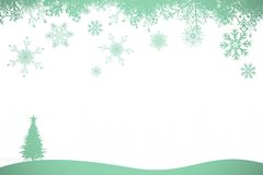 Snowflakes and fir tree in green Royalty Free Stock Images