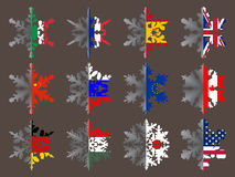 Snowflakes with flags. Snowflakes with various country flags stock illustration