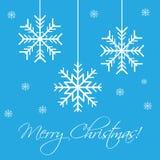 Snowflakes flat design. Snowflakes on blue background. Flat design greeting card Royalty Free Stock Photos