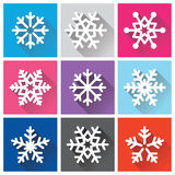 Snowflakes flat design with long shadows - Winter, Christmas background Stock Image