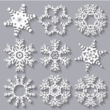 Snowflakes flat icon set collection Stock Photos