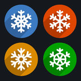 Snowflakes Flat Style Icons Set. Vector Royalty Free Stock Image