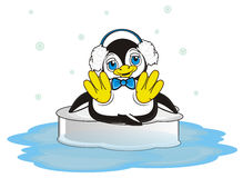 Snowflakes flying around penguin on the ice. Happy penguin boy with blue bow sitting on the ice in ocean and it's snow vector illustration