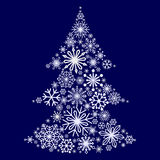 Snowflakes in the form of a Christmas tree. Winter themes. Snowflakes of different sizes and shapes. New Year and Christmas. Vecto. Snowflakes in the form of a Stock Photos