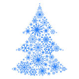 Snowflakes in the form of a Christmas tree. Winter themes. Snowflakes of different sizes and shapes. New Year and Christmas. White. Background. Vector Stock Images