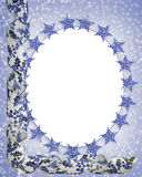 Snowflakes frame. 3D Image and illustration composition for Christmas oval Frame with blue and white ribbons. Insert your own picture Stock Image