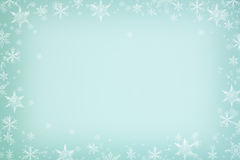 Snowflakes frame background. Mint winter background, snowflakes frame Stock Photos