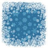Snowflakes frame blue. Stock Photos