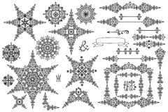 Snowflakes,frame,Border set.Winter doodles decor Stock Photos