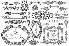 Snowflakes,frame,Border set.Winter swirls decor. Winter decor set.Swirl Border,Snowflakes, frame.Decor elements.Winter doodles vector Stock Photos
