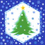 Snowflakes frame and christmas tree Stock Image