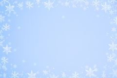 Snowflakes frame. Winter background with snowflakes frame stock photography