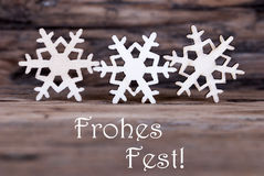 Snowflakes with Frohes Fest Royalty Free Stock Photos