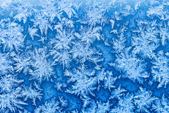 Snowflakes and frost on window in winter close up Stock Photos