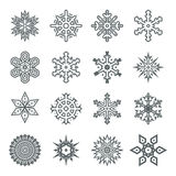 Snowflakes geometric abstract geometry New Year Icons Royalty Free Stock Photos