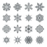 Snowflakes geometric abstract geometry New Year Icons  Stock Photography
