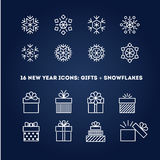 Snowflakes and gifts outline icons set for new Royalty Free Stock Photos