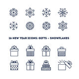 Snowflakes and gifts outline icons set for new Stock Images