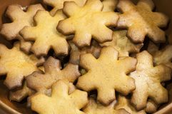 Snowflakes of gingerbread cookies for Christmas Eve Royalty Free Stock Image