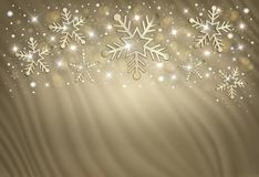Snowflakes on a gold background from a curtain, congratulations card royalty free illustration