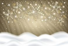 Snowflakes on a gold background from a snowdrift, congratulations on merry christmas vector illustration