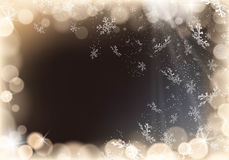 Snowflakes and gold lights on black background. This image was made by an Illustrator CS5. Vector EPS 10 format Stock Images