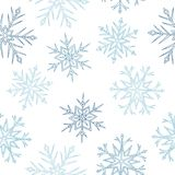 Snowflakes graphic blue white color seamless pattern illustration. Vector stock illustration
