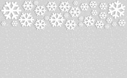 Snowflakes on gray background with copyspace.  stock illustration