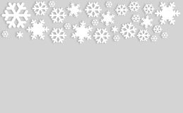 Snowflakes on gray background with copyspace.  vector illustration
