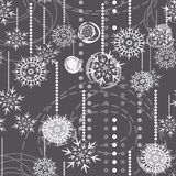 Snowflakes on gray holiday seamless pattern vector illustration