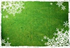Snowflakes on green Royalty Free Stock Photo