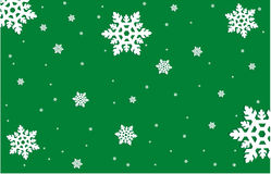 Snowflakes on Green Background Stock Image