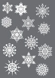 Snowflakes on grey Royalty Free Stock Photos