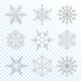 Snowflakes grey set Stock Photography