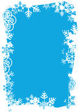 Snowflakes_grunge_frame. Grunge frame of snowflakes on blue background. Vector illustration Stock Images