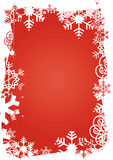 Snowflakes_grunge_frame. Frame of snowflakes on red background Royalty Free Stock Images