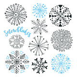Snowflakes hand drawn vector collection. Winter  decoration for Christmas and New Year design Royalty Free Stock Photography