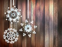 Snowflakes hanging over wooden. EPS 10 Royalty Free Stock Photos