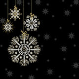 Snowflakes Hanging white/gold -Black Background Royalty Free Stock Photos