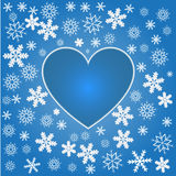 Snowflakes with heart Stock Photos