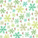 Snowflakes and holly berries-watercolor Stock Photography