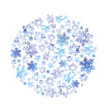 Snowflakes and ice - christmas circle background in watercolor Stock Images
