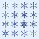 Snowflakes and icicles winter vector set Royalty Free Stock Photo