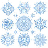 Snowflakes icon collection.Winter crystal round Royalty Free Stock Photos